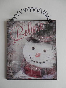 "Winter Wall Hanging - ""Believe"" Snowman"