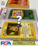 Vintage WOTC Mystery BOX!  Includes 1 PSA Card, 1 Holo, 1 Shadowless, 1st Editions, & more!