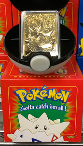 NEW Togepi Pokeball - Gold Plate Card - 1999 Burger King Promotional Toy