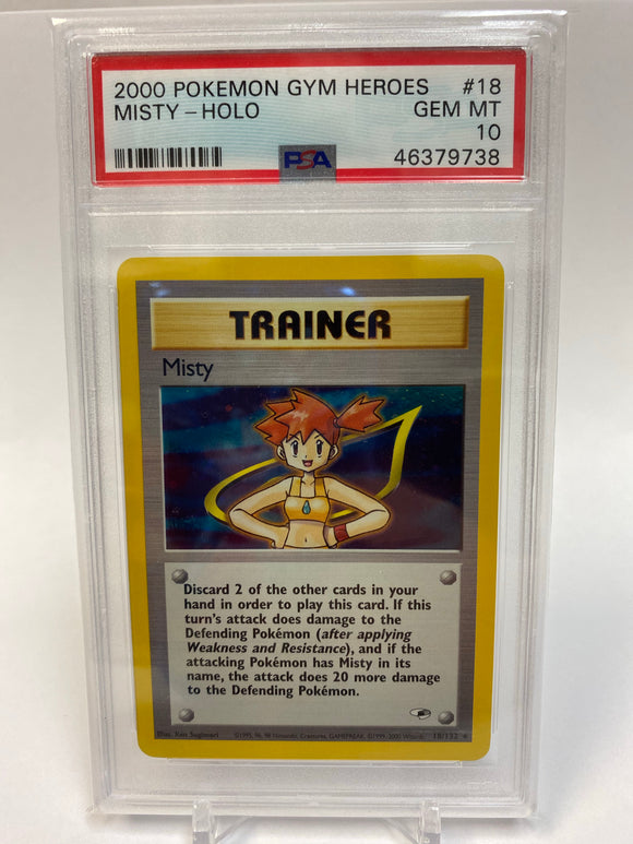 Pokemon PSA 10 Misty Holo Gym Heroes 2000 Gem Mint