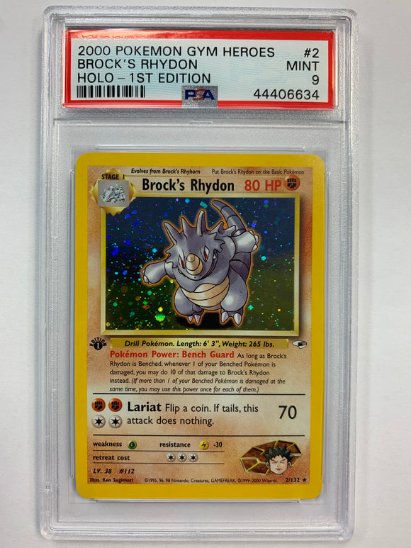 Pokemon PSA 9 Brock's Rhydon 2/132 1st Holo Gym Heroes 2000 Mint