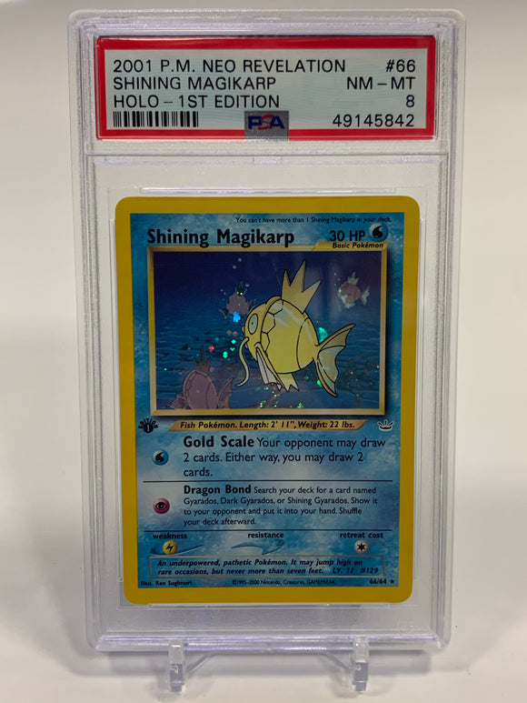 Pokemon PSA 8 Shining Magikarp 66/64 Holo 1st Edition Neo Revelation 2001 NM - Mint
