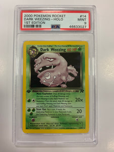 Pokemon PSA 9 Dark Weezing 14/82 Holo 1st Edition Team Rocket 2000 Mint