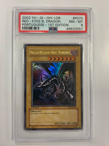 Yugioh PSA 8 Red Eyes B. Dragon LDB-P070 1st Edition Ultra Portuguese 2002 Mint