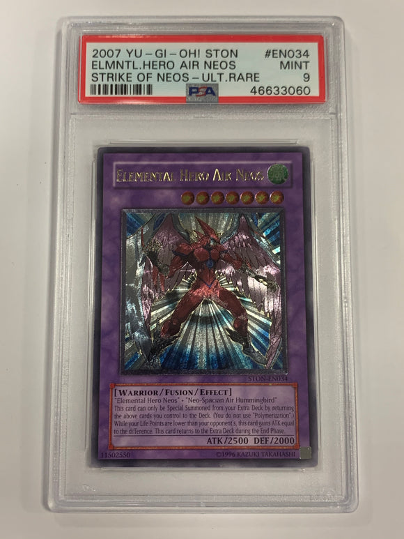 Yugioh PSA 9 Elemental Hero Air Neos STON-EN034 Ultimate Rare 2007 Mint