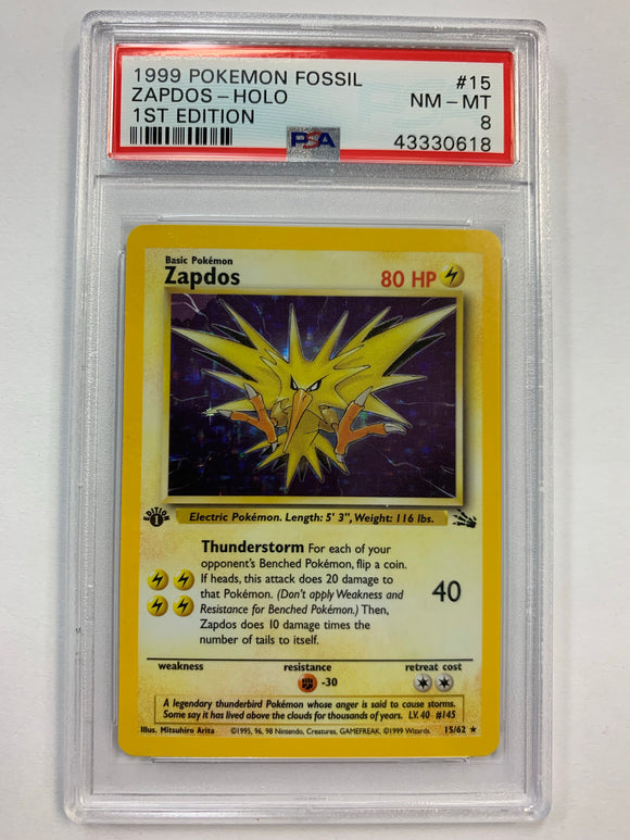 Pokemon PSA 8 Zapdos 15/62 1st Holo Fossil 1999 NM-MT