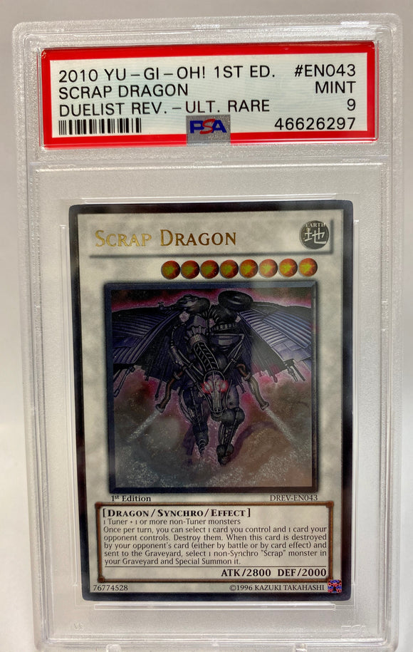 Yugioh PSA 9 Scrap Dragon DREV-EN043 1st Edition 2010 Mint
