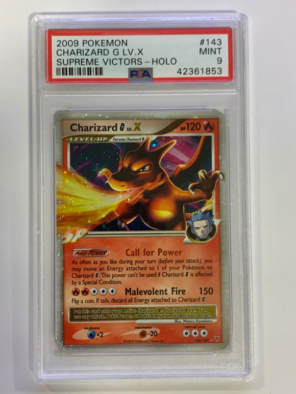 Pokemon 9 Charizard G LV.X 142/147 Holo Supreme Victors 2009 NM - Mint