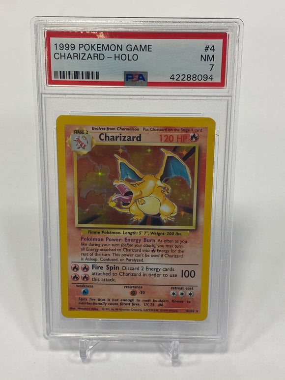 Pokemon PSA 7 Charizard 4/102 Holo Base Set 1999 NM
