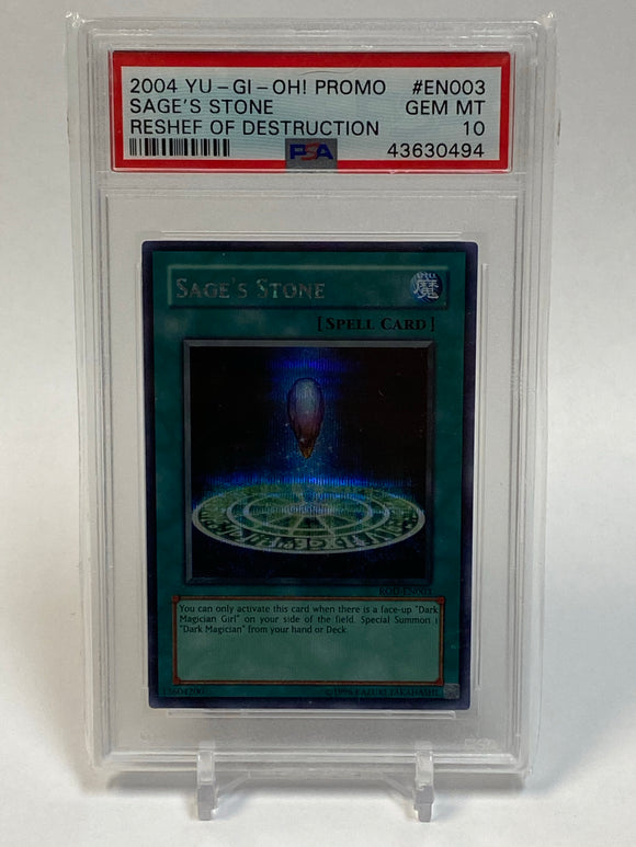 Yugioh PSA 10 Sage's Stone ROD-EN003 Secret Reshef Of Destruction 2004 Gem Mint