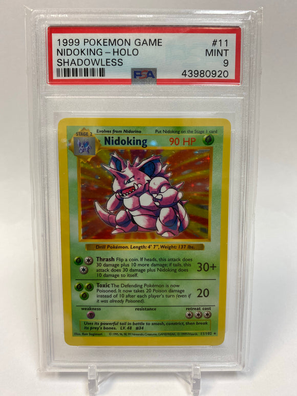 Pokemon PSA 9 Nidoking 11/102 Base Set Holo Shadowless 1999 Mint