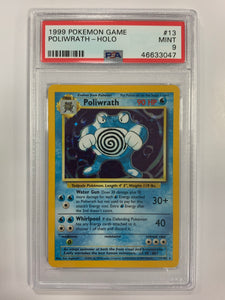 Pokemon PSA 9 Poliwrath 13/102 Holo Base Set 1999 Mint