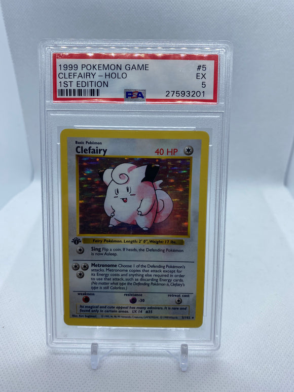 Pokemon PSA 5 Clefairy 5/102 Holo Base Set 1st / First Edition Shadowless 1999 EX