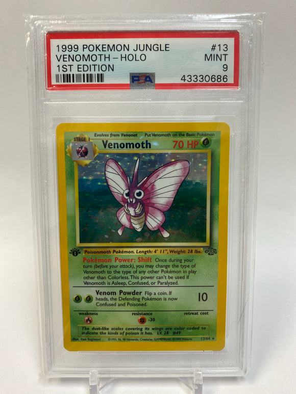 Pokemon PSA 9 Venomoth 13/64 1st Edition Holo Jungle 1999 Mint