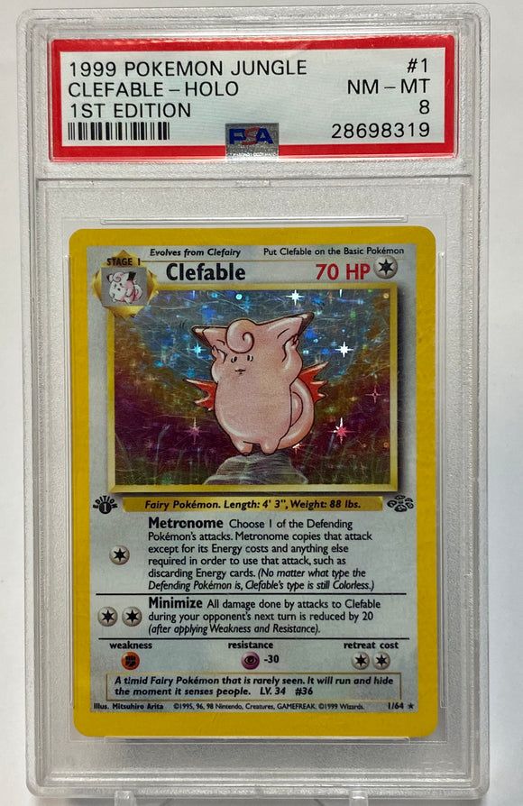 Pokemon PSA 8 Clefable 1/64 Holo 1st Edition Jungle 1999 NM-Mint