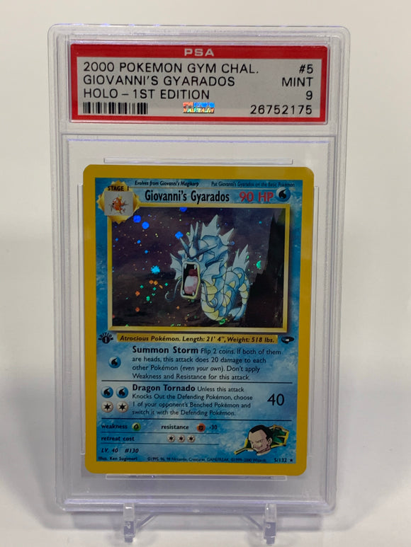 Pokemon PSA 9 Giovanni's Gyarados 5/132 Holo 1st Edition Gym Challenge 2000 Mint