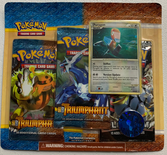 Pokemon Heart Gold Soul Silver Triumphant Platinum Blister 3 Booster-Packs & Porygon Sealed