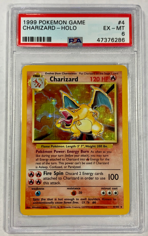 Pokemon PSA 6 Charizard 4/102 Holo Base Set 1999 EX-Mint
