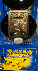 NEW Pikachu Pokeball - Gold Plate Card - 1999 Burger King Promotional Toy
