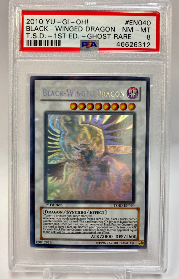 Yugioh PSA 8 Black - Winged Dragon TSHD-EN040 Ghost 1st Edition NM - Mint