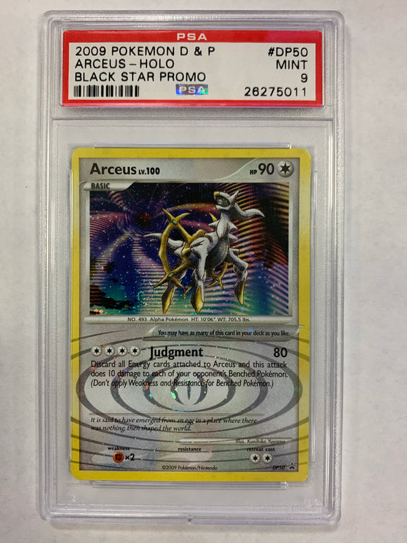 Pokemon PSA 9 Arceus DP50 Holo Black Star Promo 2009 Mint