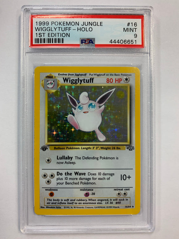 Pokemon PSA 9 Wigglytuff 16/64 1st Holo Jungle 1999 Mint