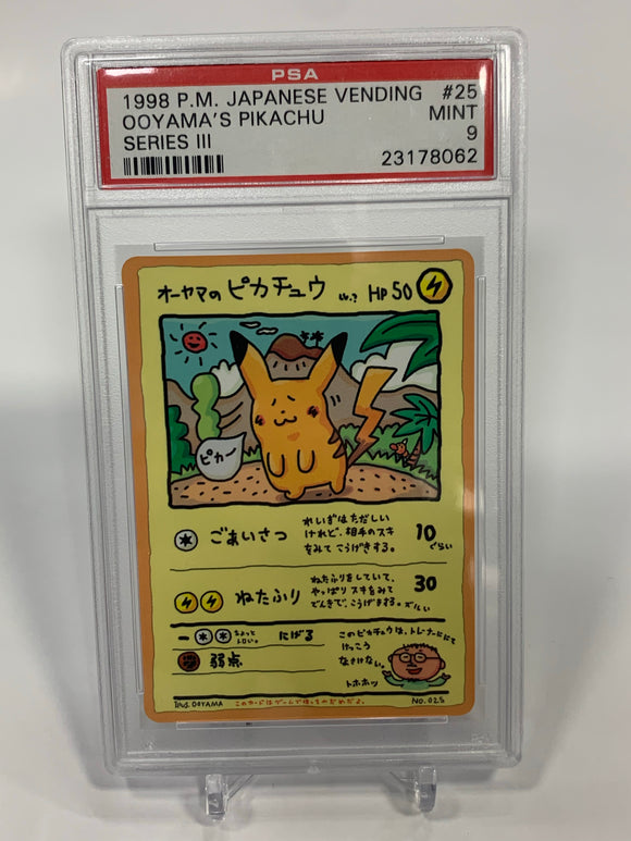 Pokemon PSA 9 Ooyama's Pikachu No. 025 Japanese Vending Series 3 III 1998 Mint