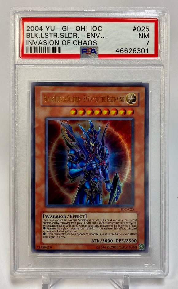 Yugioh PSA 7 Black Luster Soldier - Envoy Of The Beginning IOC-025 Ultra 2004 NM