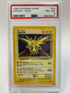 Pokemon PSA 8 Zapdos 16/102 Holo Base Set 1999 NM - Mint