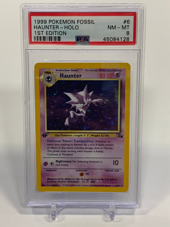 Pokemon PSA 8 Haunter 6/62 Holo 1st Edition Fossil 1999 NM - Mint