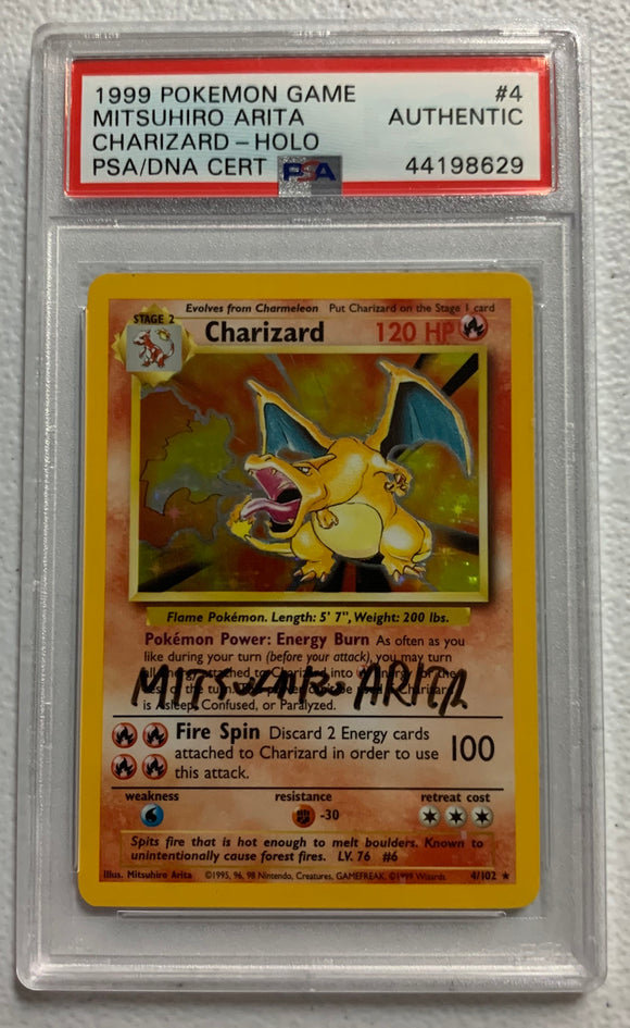 Pokemon PSA Authentic Charizard 4/102 Holo Base Set Signed By Mitsuhiro Arita