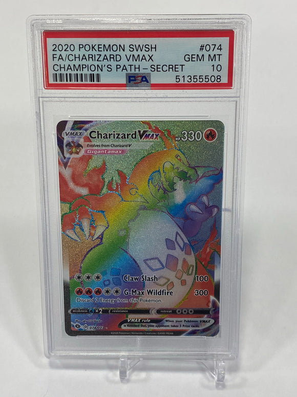 Pokemon PSA 10 Charizard VMax 74/73 Secret Champion's Path 2020 Mint
