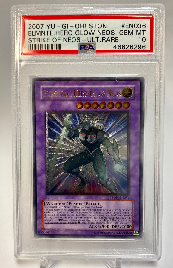 Yugioh PSA 10 Elemental Hero Glow Neos STON-EN036 Ultimate 2007 Gem Mint
