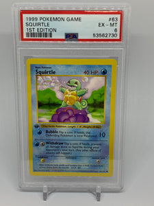 Pokemon PSA 6 Squirtle 63/102 1st Edition Base Set 1999 Shadowless EX - Mint
