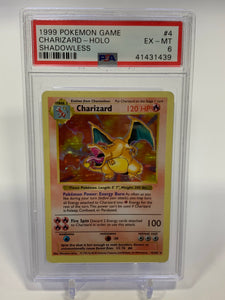 Pokemon PSA 6 Charizard Holo Shadowless Base Set 1999 EX - Mint