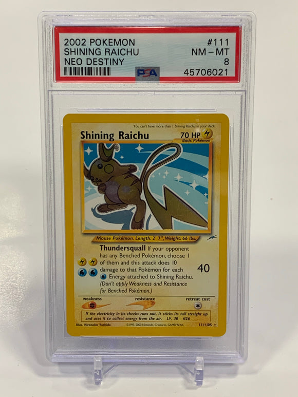 Pokemon PSA 8 Shining Raichu 111/105 Holo Neo Destiny 2020 NM - Mint