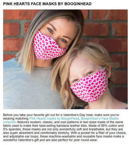 Daily Mom feature BooginHead Pink Hearts face masks