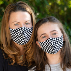 BooginHead face masks mom and daughter matching Black and white check pattern