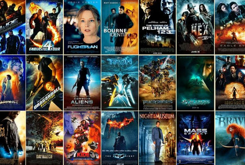 orange and blue movie posters