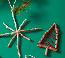 DIY homemade Christmas ornaments with twigs