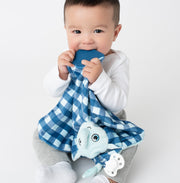 BooginHead Plush PaciPal Teether Blanket, our friendly Lucky the Elephant design. Very soft with blue and white checkerboard design. Pacifier loop, bright blue silicone teething piece for sore gums, soothing knots for texture. A plush lovey friend. Easy to clean in the washer!