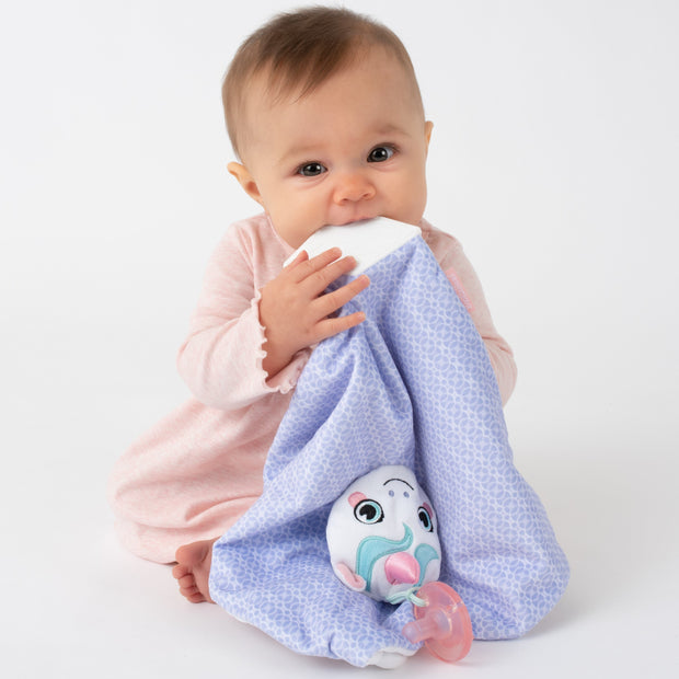 Baby soothing gums with machine washable lovey blanket from BooginHead. Plush PaciPal Teether Blanket, Dreamer the Unicorn. Soft purple, pink and teal.