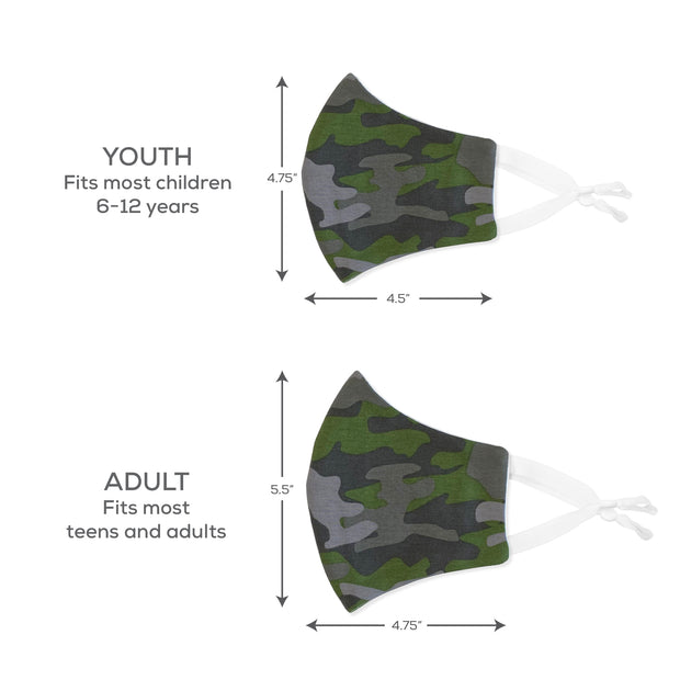 BooginHead Face Mask sizes, youth for children to young teens, adult fits teans to adults.