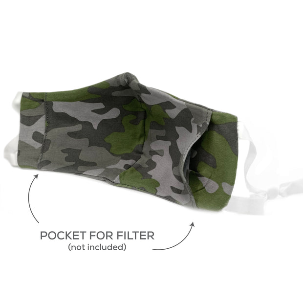 BooginHead Face Mask in Camo showing pocket for standard filter