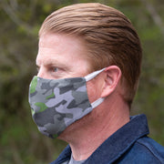 man wearing adjustalble BooginHead Face Mask in Camo.