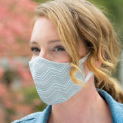 Woman wearing BooginHead Face Mask in Mint ZigZag