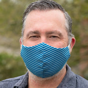 man wearing BooginHead Face Mask in Navy Stripes.