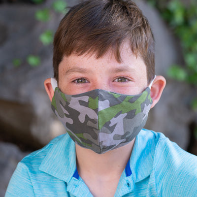 boy in BooginHead Face Mask Camo