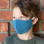 Boy wearing BooginHead kids Face Mask in Navy Stripe