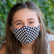 Teen wearing BooginHead Adjustable Face Mask in B&W Checkerboard soft cotton